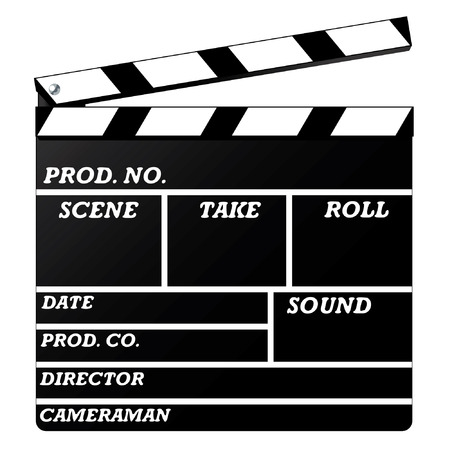 filmmaker: The vector image clapboard against white background