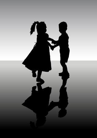 enfants dansant: Silhouette de la danse des enfants. Une illustration vectorielle. Illustration