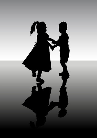 Silhouette of dancing children. A vector illustration.