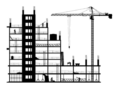 cranes: Construction of a building. A silhouette on a white background. A vector illustration. Illustration