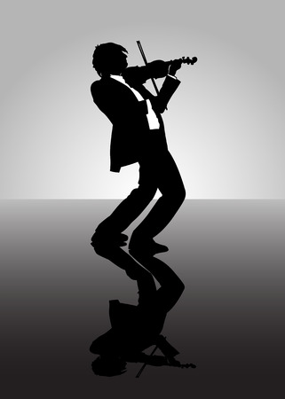 A man playing music on a violin.  Illustration