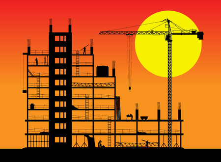 andamios: Construcci�n de un edificio. Una ilustraci�n vectorial.