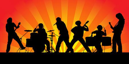 musicos: Banda de rock. Seis siluetas de los m�sicos. Ilustraci�n vectorial.
