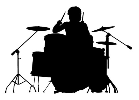 Silhouette of the drummer on a white background. A vector illustration. Illustration
