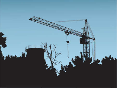hoisting: The image of a silhouette of the elevating crane