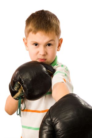 The boy in boxing gloves on a white background Stock Photo - 2257140