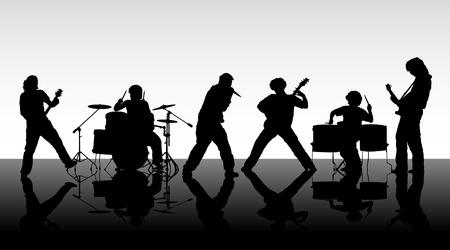 Rock band. Silhouetten van zes muzikanten. Vector illustratie. Vector Illustratie