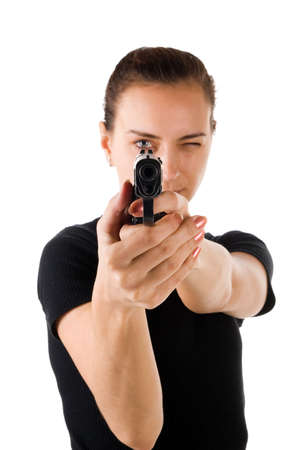 Girl with gun. It is isolated on a white background. Stock Photo - 2659629