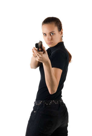 Girl with gun. It is isolated on a white background. Stock Photo - 2659631