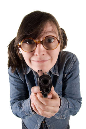 eccentric: Eccentric woman with the weapon. It is isolated on white.