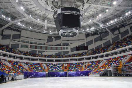 hockey sobre hielo: Ice palacio de los deportes en Hodynskoe Polo. Mosc�.  Foto de archivo