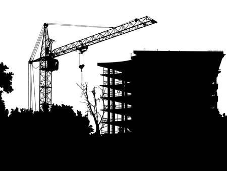 Het beeld van een silhouet van de stijgende kraan. Vector illustratie.