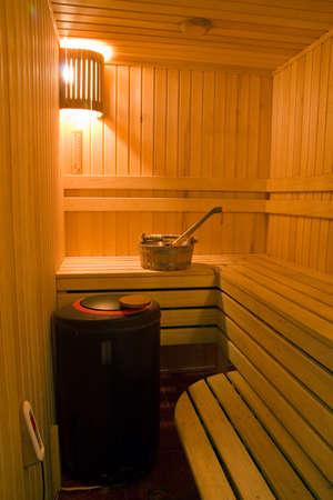 finland�s: Cazo y cuchara en un sauna finland�s.
