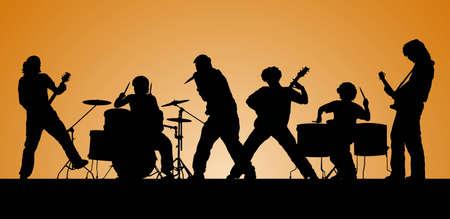 ロック ・ バンド。6 人のミュージシャンのシルエット。