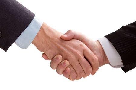 Two business men shaking hands. White background. Stock Photo - 3904922