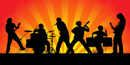 ロック ・ バンド。6 人のミュージシャンのシルエット。ベクトル イラスト。