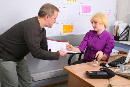 subordinated: Two employees of office in an operating time