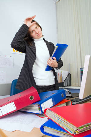subordinated: Tired the employee of office to which it still more many work