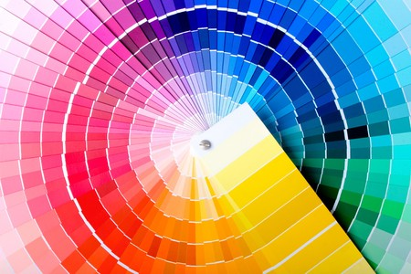 Close-up view of a color chart used for paint selection photo