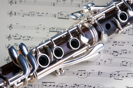 Wooden wind musical instrument clarinet. Close-up. Stock Photo - 4317868