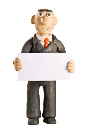 plasticine businessman with white blank over white photo
