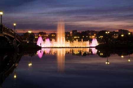 the tsaritsyno: Big Fountain in Tsaritsyno Park, Moscow. Russia Stock Photo