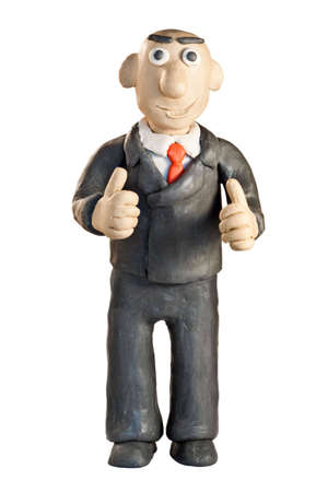plasticine businessman in a suit over white Stock Photo - 6236891