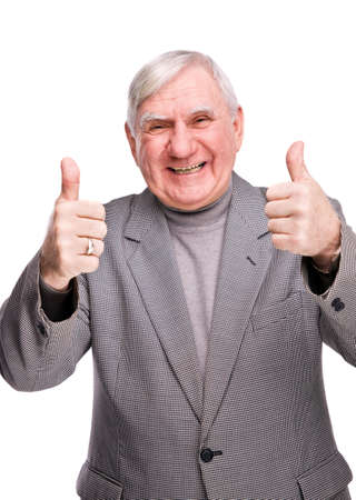 a year older: senior man showing thumb up on a isolated white background
