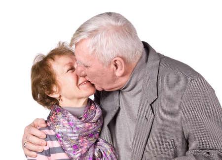 Senior Couple Isolated on a White Background photo