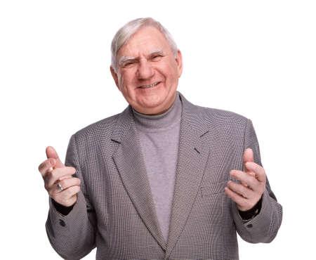 75s: smiling senior man on a isolated white background Stock Photo
