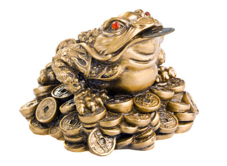 feng shui: Chinese Feng Shui Frog with coins. Isolated on white