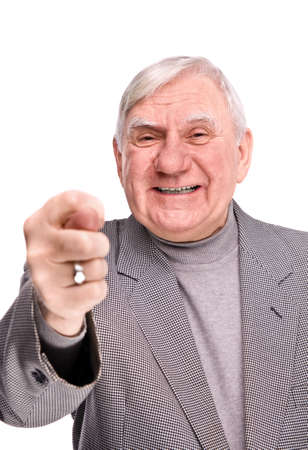 senior man showing fig on a isolated white background Stock Photo - 6847376