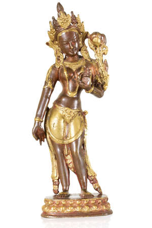 parvati: Statuette of Parvati isolated on a white background Stock Photo