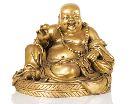 Figurine Cheerful Hotei. Chinese God of Wealth. 免版税图像