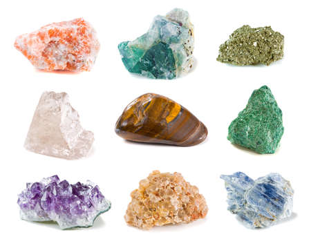 Mineral collection isolated on a white background photo