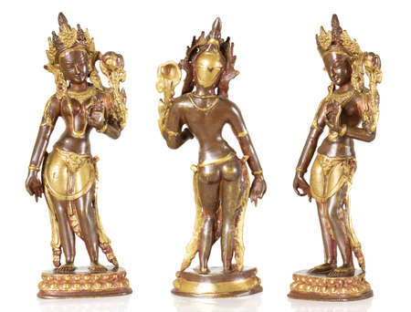 Statuette of Parvati isolated on a white background photo