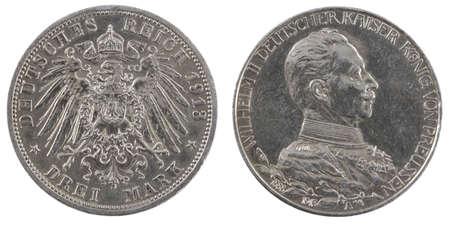deutschemarks: Three german deutschemarks 1913. Isolated on a white background
