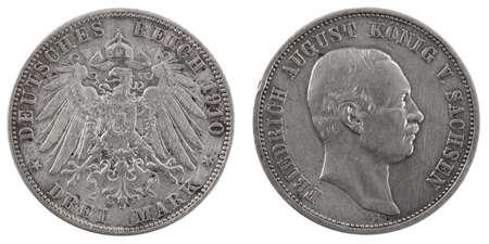 deutschemarks: Three german deutschemarks 1910. Isolated on a white background