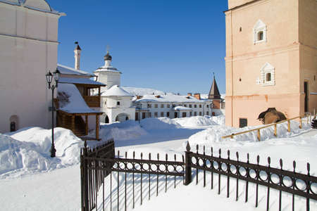 olden day: Uspensky mans monastery in city Staritsa. Russia. Tver region.