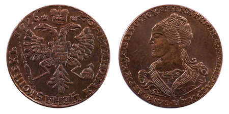 two sides of Russian 5 kopeck coin at 1726 photo
