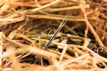 Close-up van een naald in een hooi