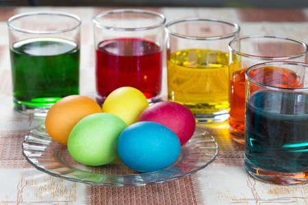 colorize: Coloring eggs in bright colors for Easter holiday