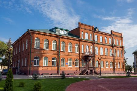 Russia. Tambov. Building high school #7. Sunny day