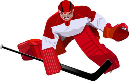 Depiction of a hockey goaltender ready to block a shot ove white background