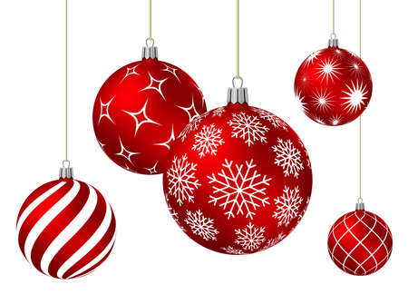 Red christmas balls with different patterns on white. Vector illustration. Vetores