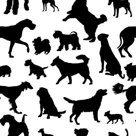 Seamless pattern with dog silhouettes.