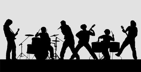 Rock band silhouette on stage. Vector illustration