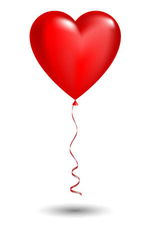 Vector red balloon in form of heart on white background