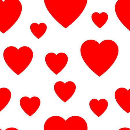 Ein nahtloses Muster aus einfachen verschiedenen Herzen . Vektor-Illustration Vektorgrafik