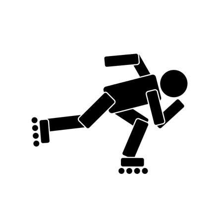 Roller skating sport, flat icon. Vector illustration